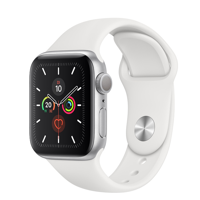 Apple Watch Ser5 Alu Silver G PS 40mm White Sport Band