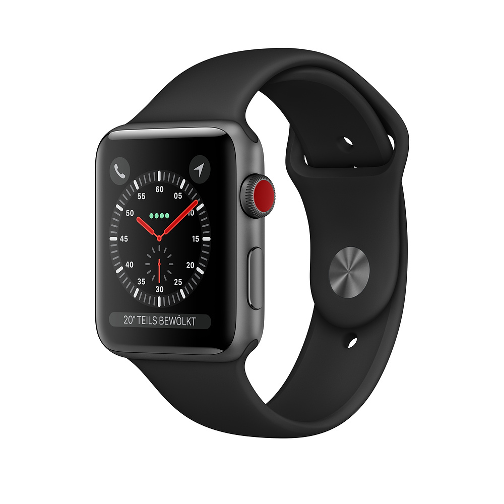 Apple Watch Ser3 Alu Space GP S+Cell 42mm  Black Sport Band