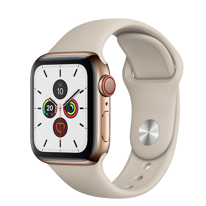 Apple Watch Ser5 Steel Gold G PS+Cell 40mm Stone Sport Band