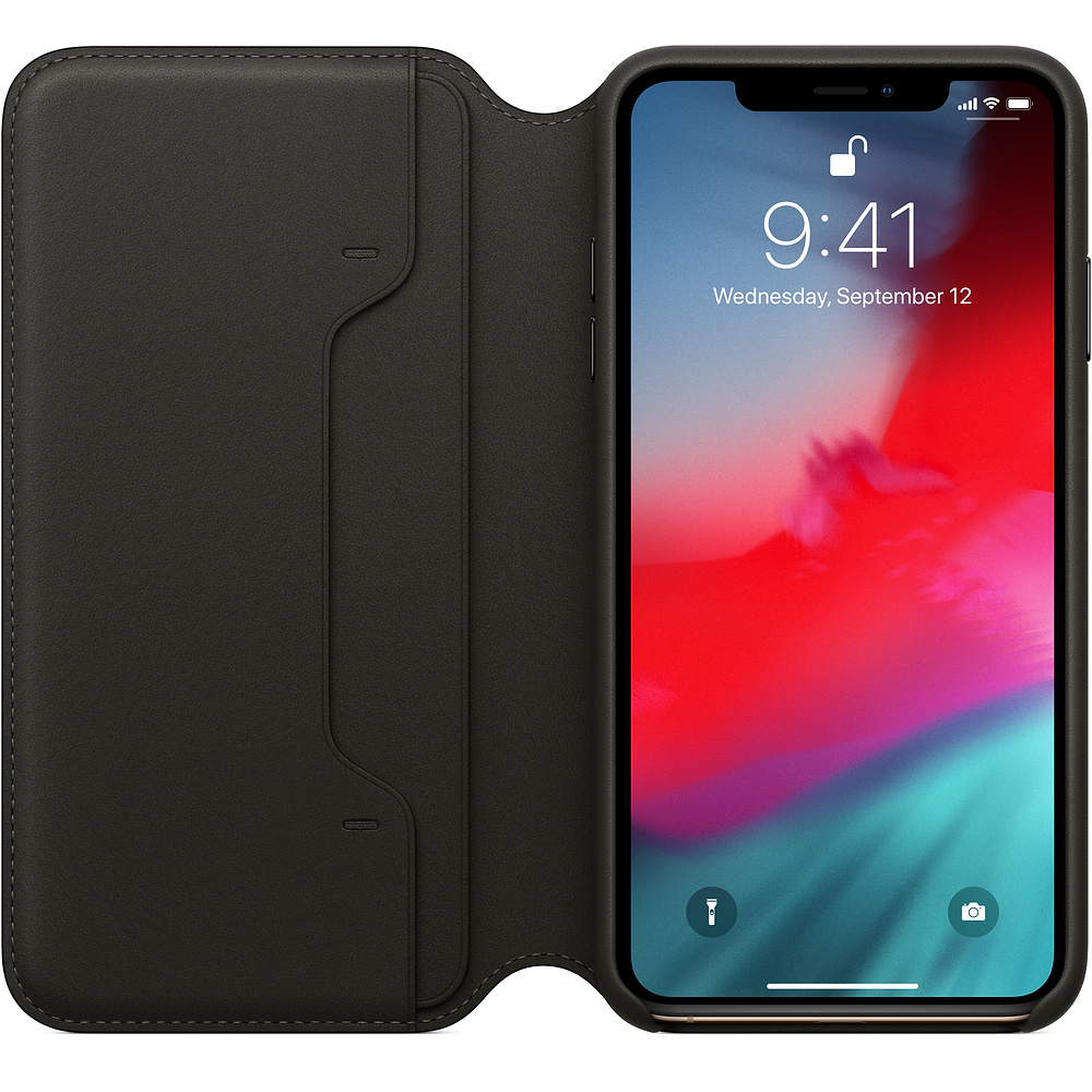 Apple iPhone XS Max Leather F olio - Black