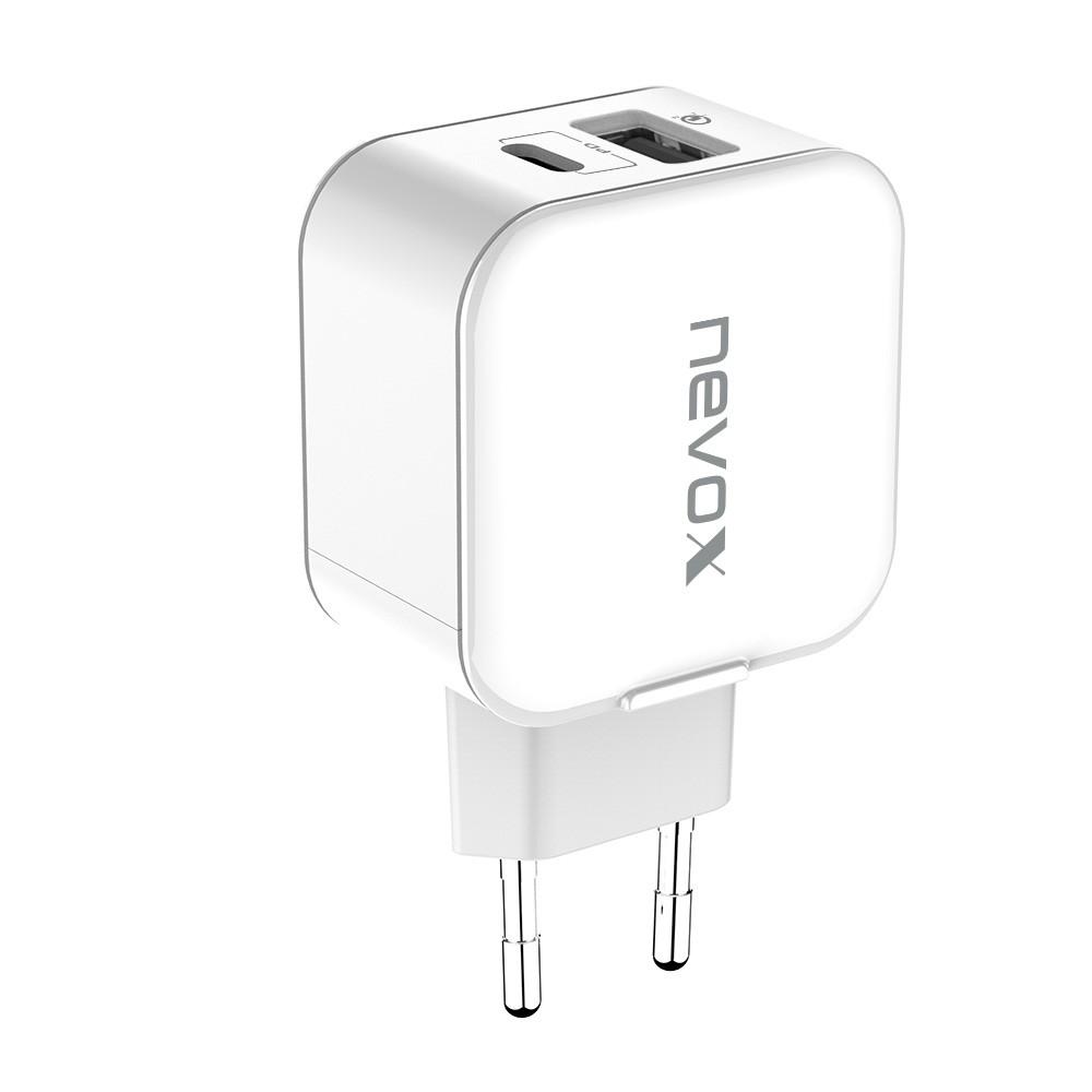 Nevox USB PD Type C + QC3.0 Ladegerät 18 W, weiß