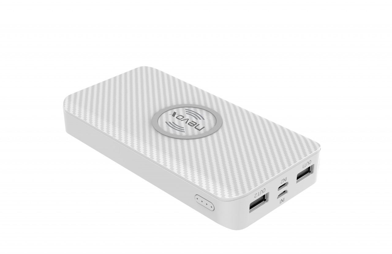 Nevox Wireless Powerbank 10000 mAh Triple-Input, weiß