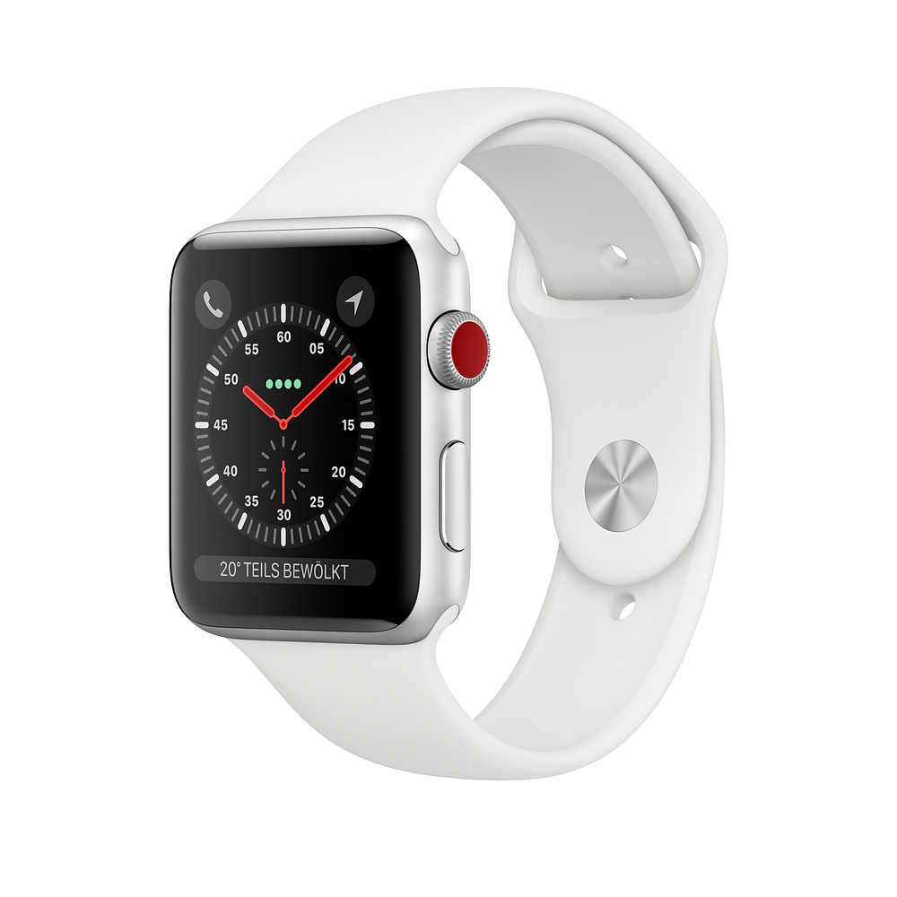Apple Watch Ser3 Alu Silv GPS + Cell 42mm White Sport Band