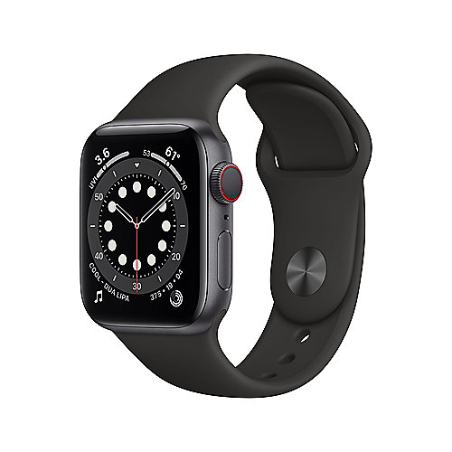 Apple Watch Ser6 Alu GPS + Cell. Space 40 mm Black Sport Band Regular