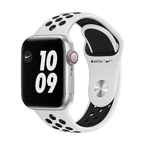 Apple Watch SE Nike Alu Silver GPS+Cell. 44mm Pure Platinum/Black Nike Sport Band Regular