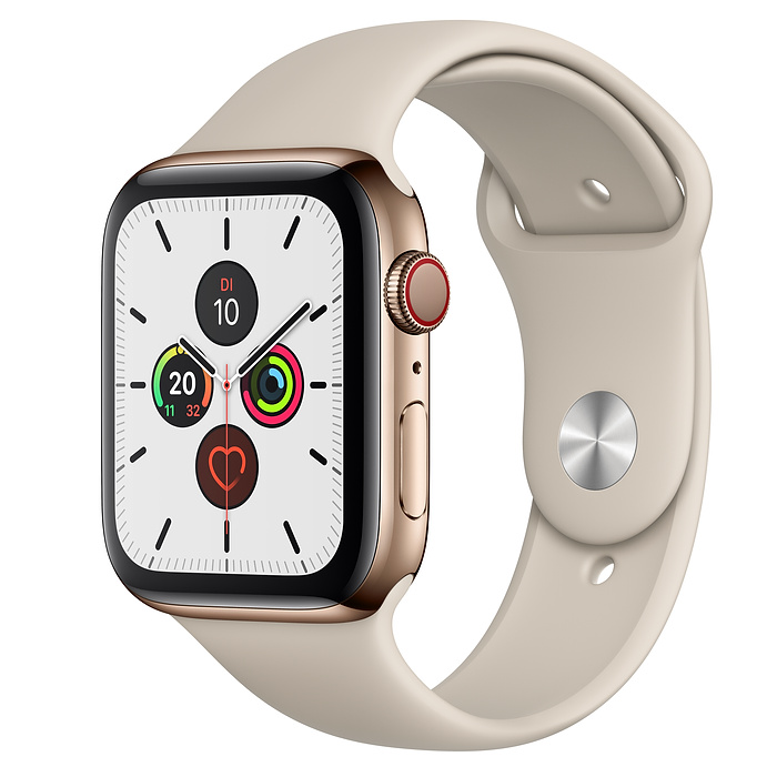 Apple Watch Ser5 Steel Gold G PS+Cell 44mm Stone Sport Band