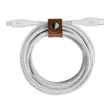Belkin DuraTek Plus Lightning/USB-C MFI zert., 1,2 m, weiß
