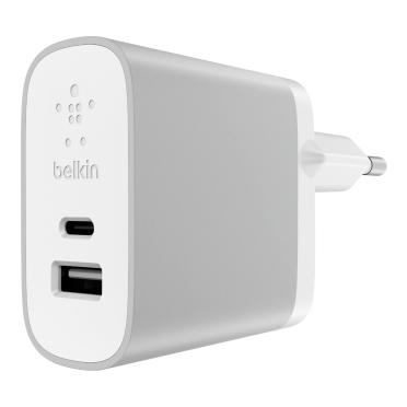 Belkin 2-Port Netzladegerät 39 W USB-C/USB-A, silber