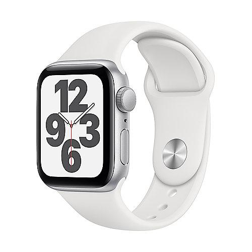 Apple Watch SE Alu Silver GPS 40 mm White Sport Band Regular