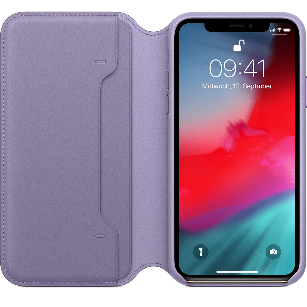 Apple iPhone XS Leather Folio Lilac