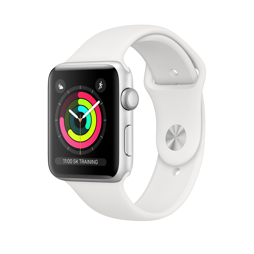 Apple Watch Ser3 Alu Silver GPS 38 mm White Sport Band