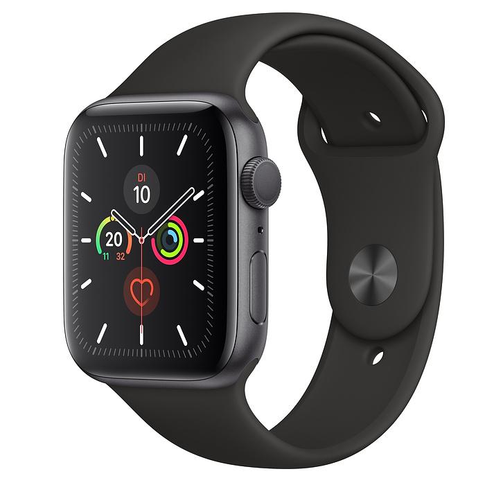 Apple Watch Ser5 Alu Space GP S 44mm Black Sport Band