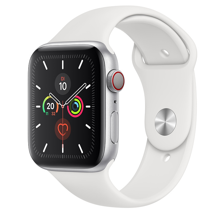 Apple Watch Ser5 Alu Silver G PS+Cell 44mm White Sport Band