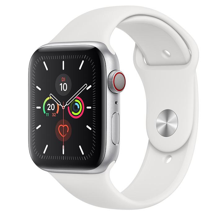 Apple Watch Ser5 Alu Silver G PS+Cell 44mm White Sport Ba