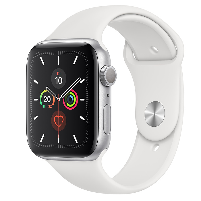 Apple Watch Ser5 Alu Silver G PS 44mm White Sport Band