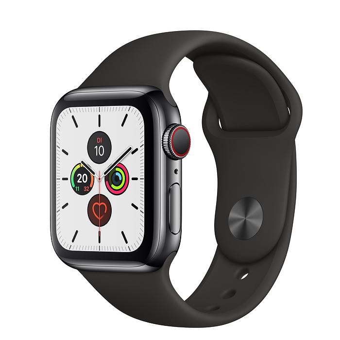 Apple Watch Ser5 Steel Space GPS+Cell 40mm Black Sport Ban