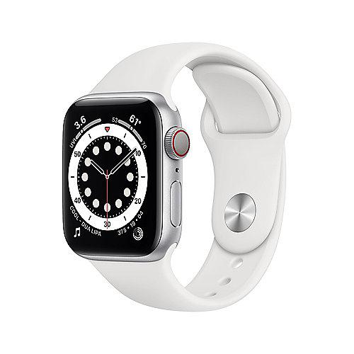 Apple Watch Ser6 Alu GPS + Cell. Silver 40 mm White Sport Band Regular