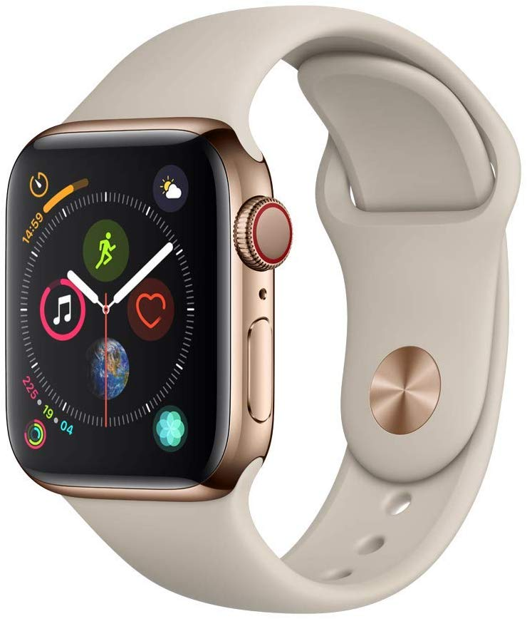Apple Watch Ser4 Steel Gold G PS+Cell 44mm Stone Sport Ba