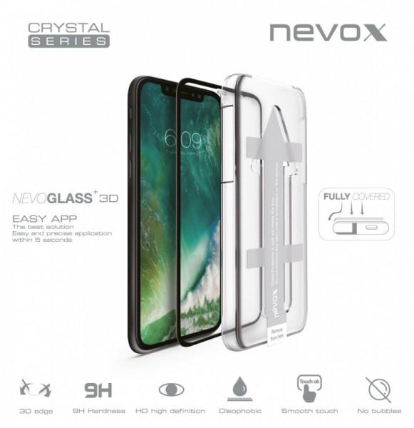 Nevox NEVOGLASS 3D iPhone XR curvedglass m. EASYAPP schwarz