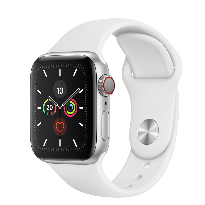 Apple Watch Ser5 Alu Silver GPS + Cell. 40 mm White Sport Band