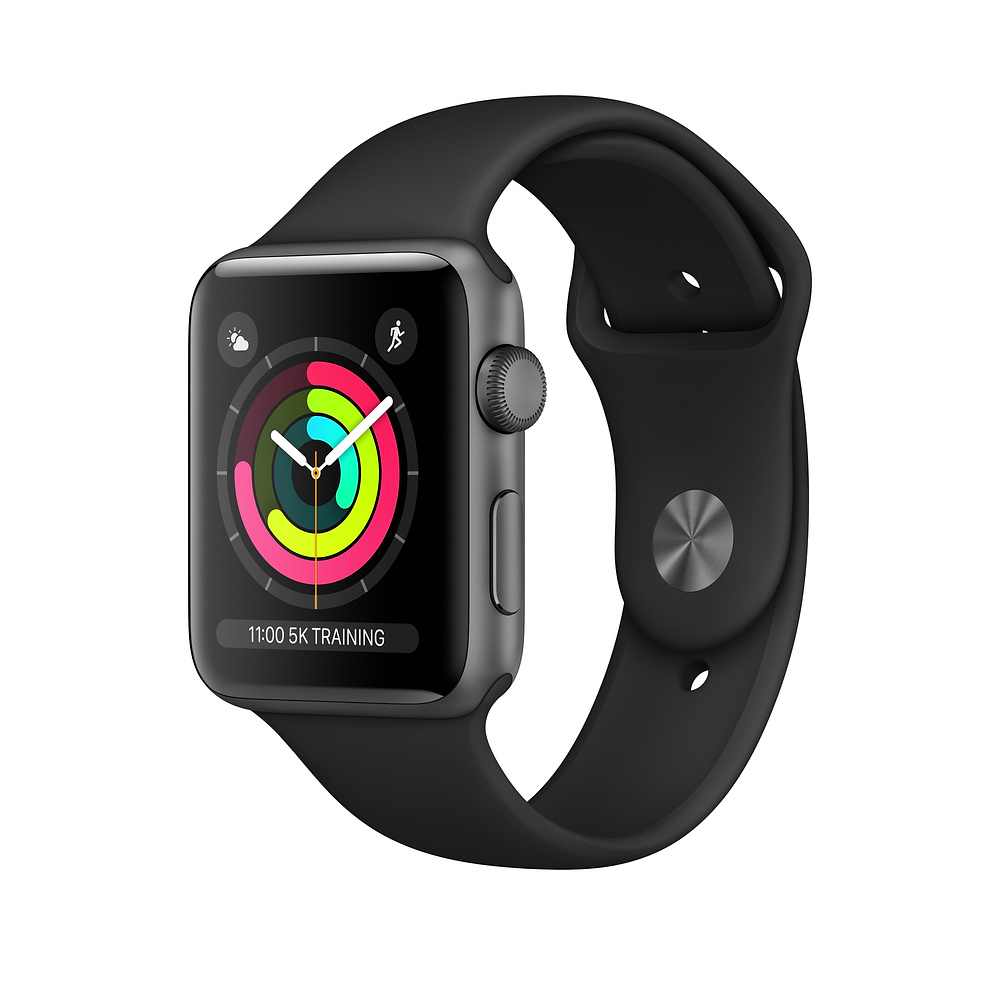Apple Watch Ser3 Alu Space GPS 42 mm Black Sport Band