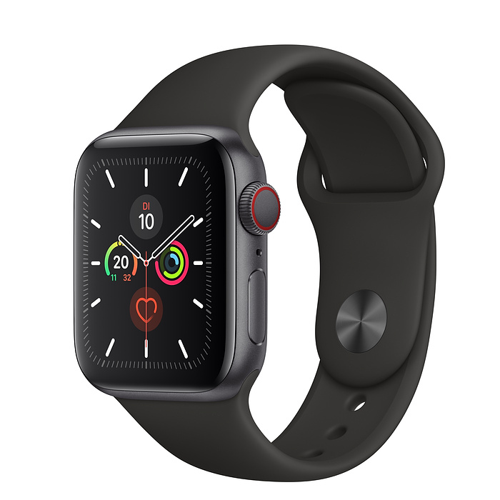 Apple Watch Ser5 Alu Space GP S+Cell 40mm Black Sport Band