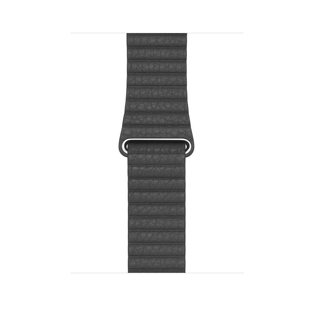 Apple Watch 44mm Black Leather Loop Large