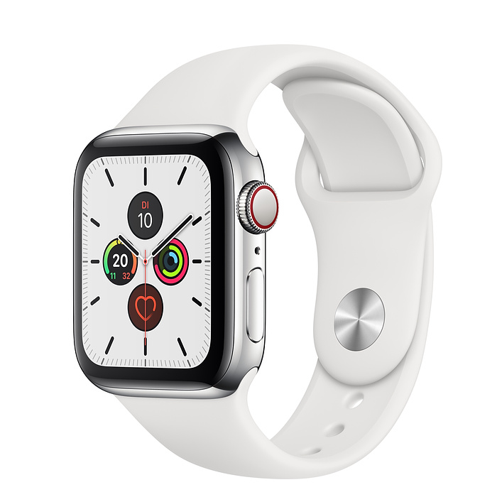 Apple Watch Ser5 Steel Stainl GPS + Cell. 40 mm White Sport Ban