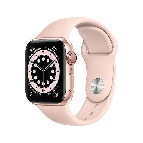 Apple Watch Ser6 Alu GPS + Cell. Gold 40 mm Pink Sand Sport Band Regular